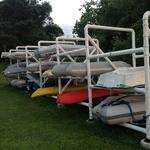 In 2012, the members of Crescent Yacht Club designed and built a large three-tier rack for dinghy, canoe and kayak storage.  The rack will easily support even the largest V-hull tenders and is located close to the water's edge for each launches.